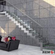 Лестница с элементами стекла №1