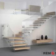 Лестница с элементами стекла №2