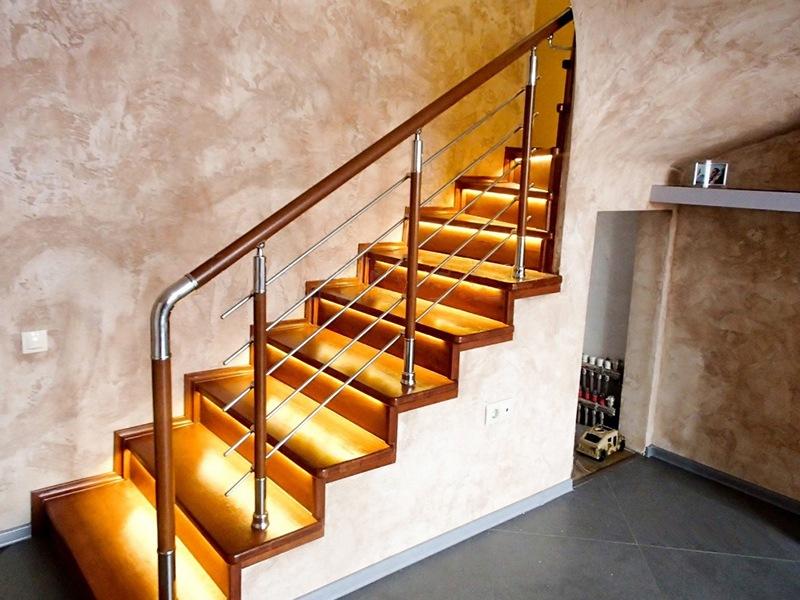 Комбинированное ограждение лестницы