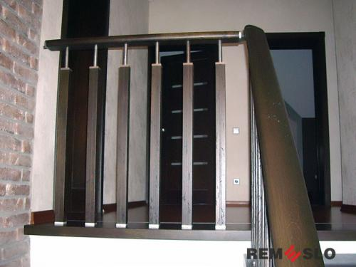 Комбинированое ограждение из нержавеющей стали с деревом №011