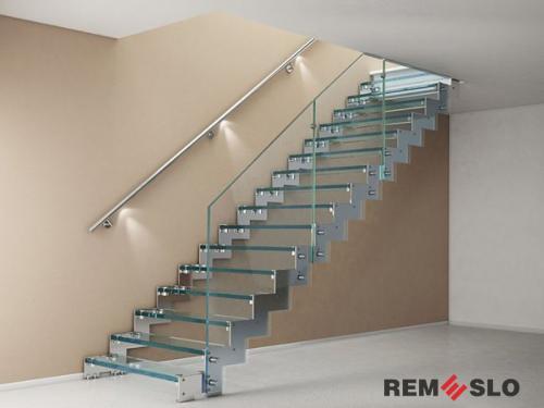 Лестница с элементами стекла №14